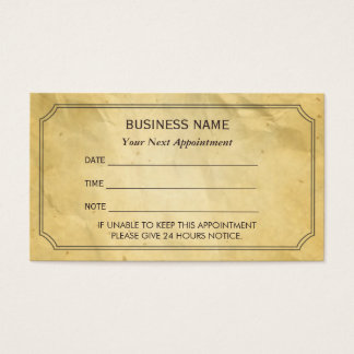 Vintage Framed Old Paper Appointment Reminder Business Card