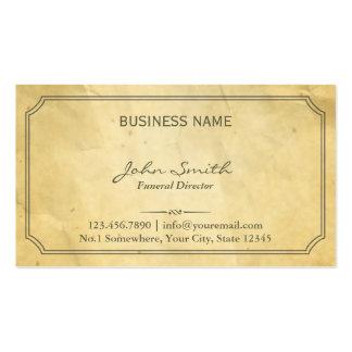 Vintage Framed Old Paper Funeral Pack Of Standard Business Cards