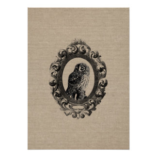 Vintage framed owl bird owls birds rustic chic poster