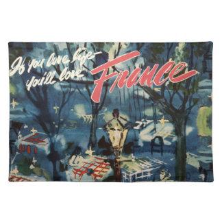 Vintage France Advertisement Blue Cafe Travel Place Mat