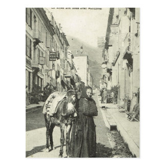 Vintage France ,  Bareges, Woman with a donkey Postcard