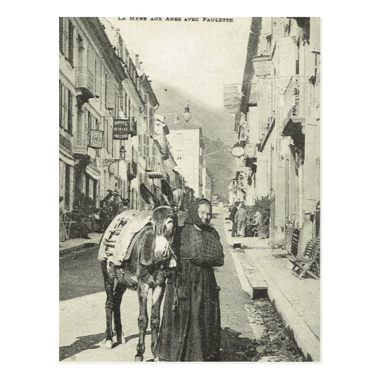 Vintage France , Bareges, Woman with a donkey