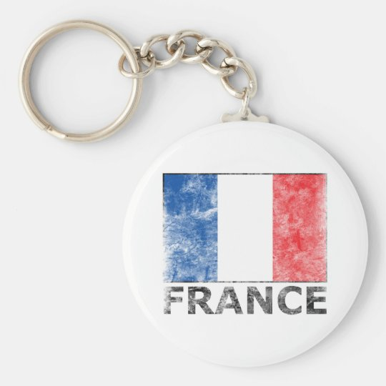 Vintage France Basic Round Button Key Ring