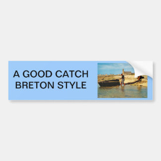 Vintage France, Bretagne, Beaching   fishing boats Bumper Sticker