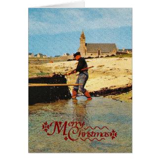 Vintage France, Bretagne, Beaching   fishing boats Card