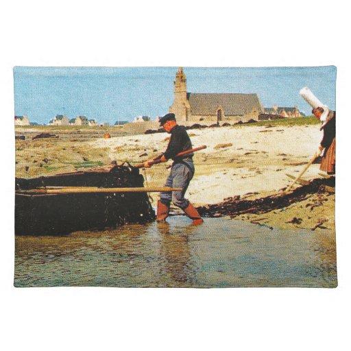 Vintage France, Bretagne, Beaching   fishing boats Placemats