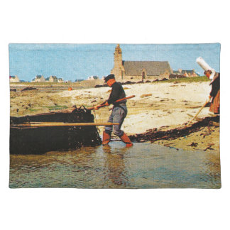 Vintage France, Bretagne, Beaching   fishing boats Placemat