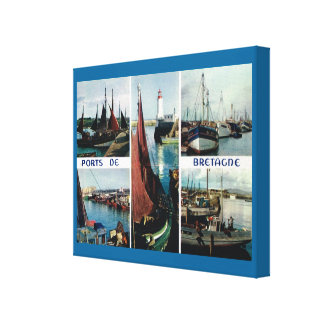 Vintage France, Bretagne  Boats and ports Canvas Print