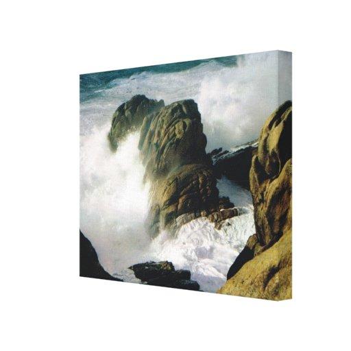 Vintage France, Bretagne, Rocks and rough sea Stretched Canvas Print