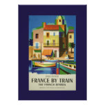 Vintage France by Train Travel Poster