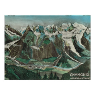 Vintage France, Chamonix Mont Blanc, mountain top Poster