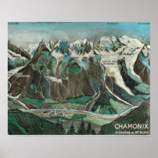Vintage France, Chamonix Mont Blanc Print
