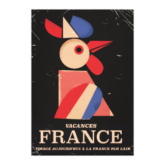 Vintage France cockerel travel poster Canvas Print