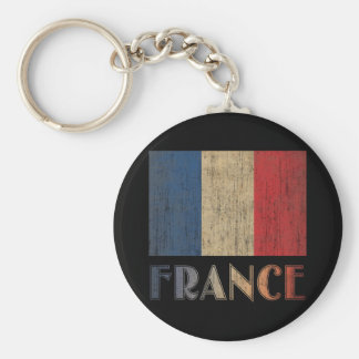 Vintage France Flag Basic Round Button Key Ring