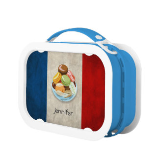 Vintage France Flag with Sweet Macaron Dessert Lunchboxes