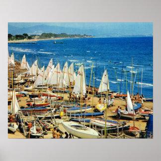 VIntage France Hyeres Port et marina Var Print