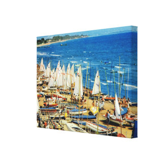 Vintage France, Hyeres Port, Var Canvas Print