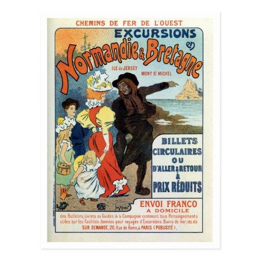Vintage France Normandy Jersey UK travel ad Post Cards