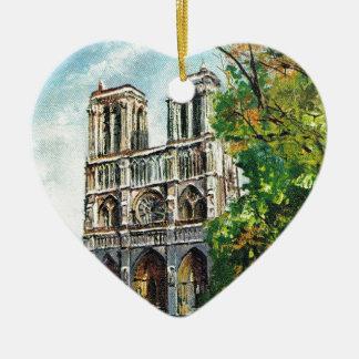Vintage France, Notre Dame de Paris Ceramic Heart Decoration