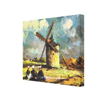 Vintage France, Pointe du Van, Finistere, Windmill Canvas Print