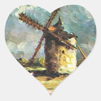 Vintage France, Pointe du Van, Finistere, Windmill Heart Sticker