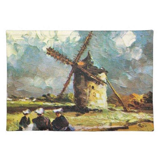 Vintage France, Pointe du Van, Finistere, Windmill Place Mats
