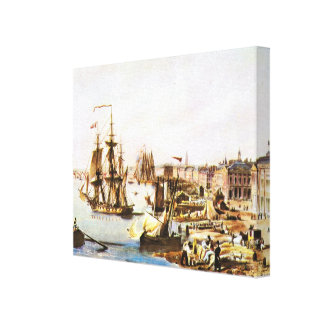Vintage France, Port of Bordeaux, 1820 Canvas Print