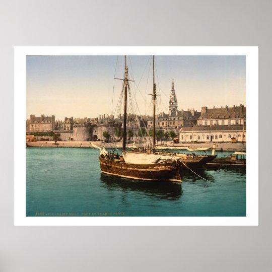 Vintage France, Ships in Saint Malo Harbour Poster