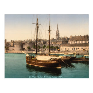 Vintage France, St. Malo Harbor Brittany Postcard