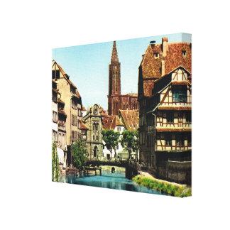 Vintage France, Strassbourg, Centre ville, Canvas Print