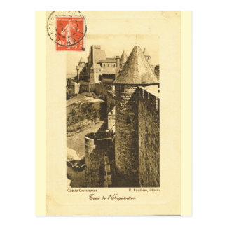 Vintage France, Walls of medieval Carcasonne Postcard