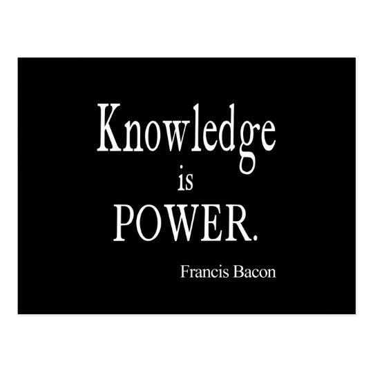 Vintage Francis Bacon Knowledge is Power Quote Postcard