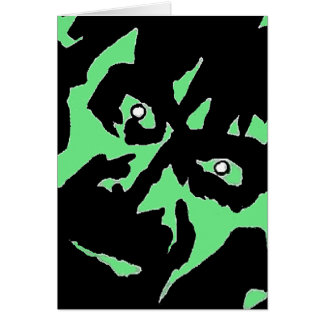Vintage Frankenstein Monster Green Black Retro Card