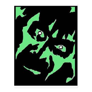 Vintage Frankenstein Monster Green Black Retro Postcard