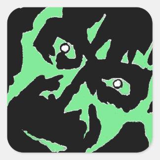 Vintage Frankenstein Monster Green Black Retro Square Sticker