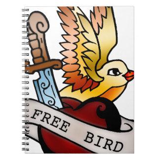 vintage free bird tattoo notebooks