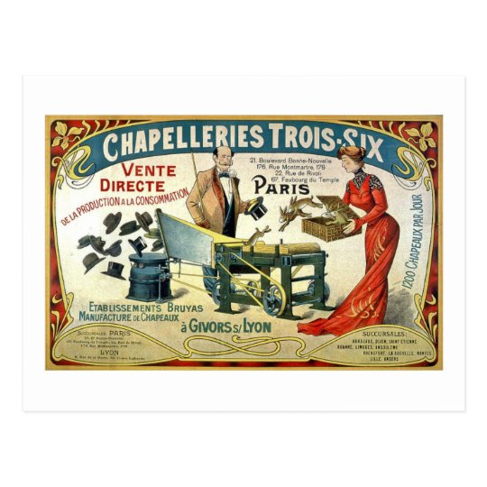 Vintage French Ad - Chapelleries1890 Postcard