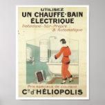 Vintage French advertisement bathroom bathtub Poster