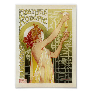 Vintage French Advertising Absinthe Robette Lady Poster