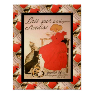 Vintage French advertising, Lait Pur Poster