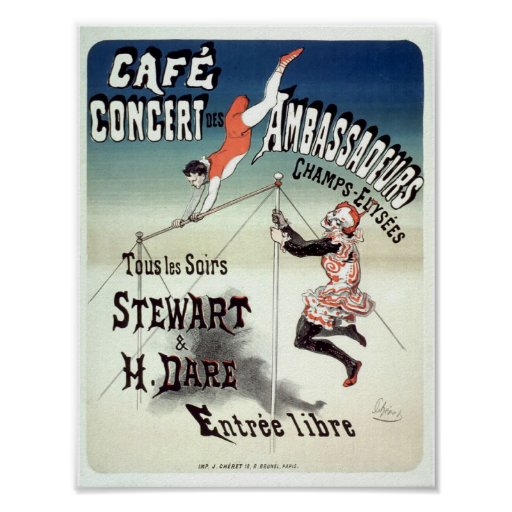 Vintage French Advertising Trapeze Artists 1877 Poster