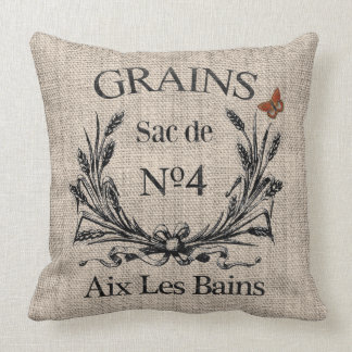 Vintage French Aix Les Bains Grainsack-Effect Cushion