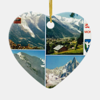 Vintage French Alps, Chamonix Mt Blanc Ceramic Heart Decoration