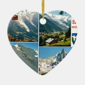 Vintage French Alps, Chamonix Mt Blanc Ceramic Heart Decoration