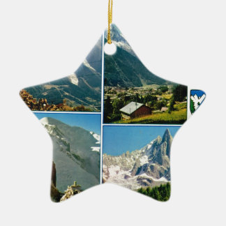 Vintage French Alps, Chamonix Mt Blanc Double-Sided Star Ceramic Christmas Ornament