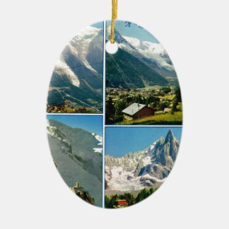 Vintage French Alps, Chamonix Mt Blanc Double-Sided Oval Ceramic Christmas Ornament