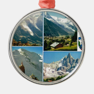 Vintage French Alps, Chamonix Mt Blanc Christmas Tree Ornaments