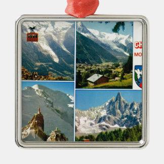 Vintage French Alps, Chamonix Mt Blanc Christmas Tree Ornaments