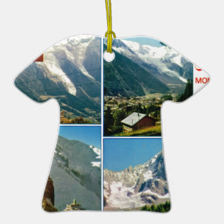 Vintage French Alps, Chamonix Mt Blanc Double-Sided T-Shirt Ceramic Christmas Ornament