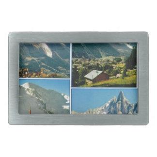 Vintage French Alps, Chamonix Mt Blanc Rectangular Belt Buckle
